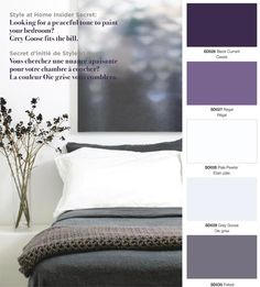 Grey & Purple Bedroom. Would hubby let me get away with this?