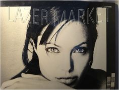 Angelina Jolie:laser marking on plexi glass
