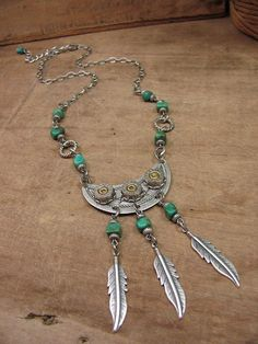 Bullet Jewelry - Western, Bohemian Chic Turquoise Nugget and 380 Nickel Bullet Necklace with Feather Charms