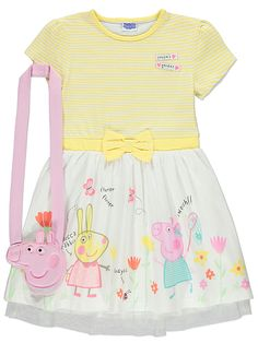 If they love Peppa Pig then they'll adore this dress, which comes pre-styled with an embroidered character bag to store sweets or pocket money in. The stripe. Peppa Pig Outfit, Peppa Pig Dress, Pegga Pig, Dress Outfits, Girl Outfits, Baby Girl Dresses, Cloth Bags, The Ordinary, Knit Dress