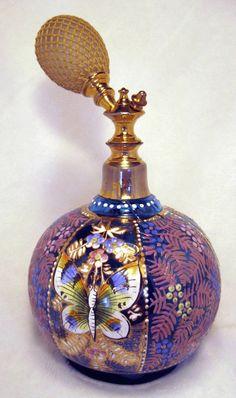 VIVID COLOR!!! Antique Turquoise Enamel Bohemian Perfume Scent Atomizer Bottle