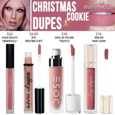 Lipstick dupes 103864335140400946 - Jeffree Star Christmas Cookie Velour Liquid Lipstick Prediction Dupes Source by allintheblush Dupes Nyx, Nyx Cosmetics, Drugstore Makeup Dupes, Lipstick Dupes, Beauty Dupes, Makeup Swatches, Beauty Makeup, Lipsticks, Mac Makeup