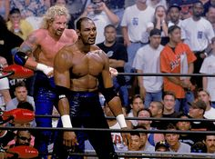Karl Malone The Mailman delivered the pain during his one pro wrestling match, losing to the team of Dennis Rodman and Hollywood Hulk Hogan at the WCW's Bash at the Beach in Via SI Wwf The Rock, Karl Malone, Dennis Rodman, Wwe Tna, Hulk Hogan, Utah Jazz, Wwe Wrestlers, Professional Wrestling, Funny Shit