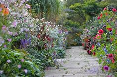 Gravetye mixed border York paving ; Gardenista