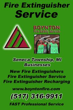 Fire Extinguisher Service Seneca Township  (517) 316-9911.. Local Michigan Businesses you have found the complete source for Fire Protection. Fire Extnguishers, Fire Extinguisher Service.. We're got you covered..