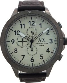 9d0940f84b54 Armani Exchange - AX1757 Brown Aeroracer Leather Strap Watch