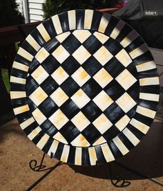 Hand Painted 15 Black And White Checked Lazy Susan