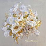 """Quadro """" Lusso del bianco """", realizzato in tecnica Silk ribbon embroidery, nozze,fiori bianchi,ricamo a mano"""