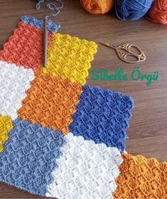 Baby Knitting Patterns, Crochet Baby Blanket Free Pattern, Afghan Crochet Patterns, Crochet Squares, Crochet Stitches, Enterlac Crochet, Crochet Cushions, Manta Crochet, Knitting For Beginners