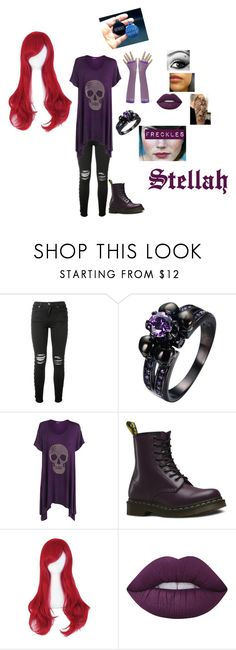 """""""Stellah"""" by pinkleopardkitten ❤ liked on Polyvore featuring AMIRI, WearAll, Dr. Martens and Lime Crime"""