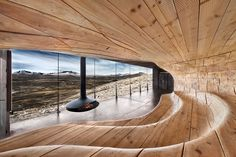 Centro di osservazione delle renne selvatiche, Cabanon progettato dallo studio norvegese Snøhetta nel parco nazionale di Dovrefjell, in Norvegia