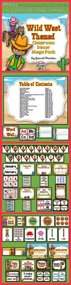 Western Theme | Western Theme  Bring the wild west into your classroom with this Western Themed Classroom Decor Mega Pack. It comes with 199 pages of NO PREP HEADERS, LABELS, CHARTS AND SIGNS plus 23 pages of EDITABLE PARTS/TEMPLATES.