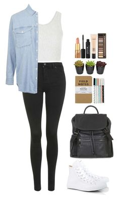 """#492"" by victoria2610 ❤ liked on Polyvore featuring Topshop, Converse, tarte, Stila, MAC Cosmetics, Urban Decay, casual, school, like and topshop"