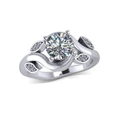 Moissanite engagement ring in 14k white gold  style 147WDM