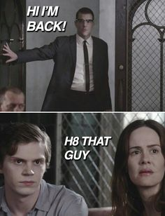 AHS Asylum, Zachary Quinto as Thredson, Evan Peters as Kit and Sarah Paulson as Lana