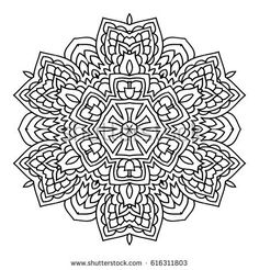 Mandala. Black and white decorative element. Picture for coloring. Abstract circular ornament with stylized leaves.