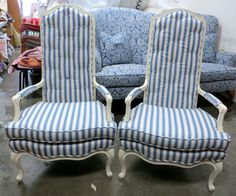 Pair of French Style Caned Back Chairs in Blue Cotton Stripe - Totally Refurbished by WydevenDesigns on Etsy