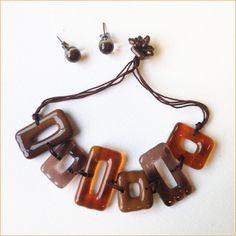 Glass jewelry • 2-piece brown set
