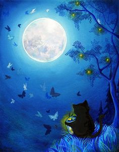 Cat and full moon:  swirling butterflies all around as Little Black Cat sits and ponders the moon up yonder in awe and wonder of another life beyond her