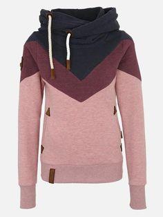 e7d3bd306af31f Color Block High Neck Long Sleeve Women's Hoodie – hebedress.com  Kapuzenpullis, Sweatshirts,