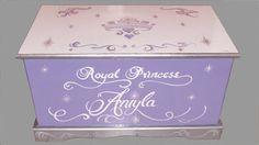 Princesa Tiara juguete pecho de diseño personalizado, pecho de juguete de madera, muebles de los cabritos