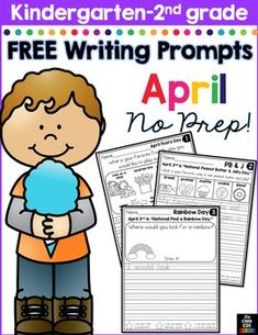 FREE April Writing Prompts for Kindergarten to Second Grade writing prompts free Kindergarten Writing Prompts, Writing Prompts For Writers, Writing Workshop, Teaching Writing, Writing Activities, In Kindergarten, Writing Ideas, Writing Worksheets, Writing Lessons