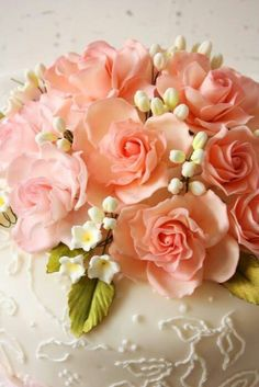 Ivory Peach Wedding Cake Top