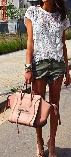 Lace + cutoffs.