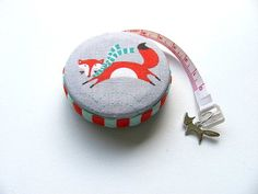 Tape Measure with Foxes Wearing Scarves Retractable Measuring Tape by AllAboutTheButtons, $8.95 USD