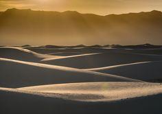 Golden light over White sands - Sunset at White Sands Dunes National Monument
