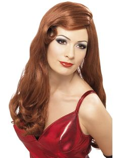 Alluring Cheap Long Curly Red Wigs For Women Real Hair Wigs, Side Swept Bangs, Red Wigs, Red Fashion, Fashion Wigs, Gorgeous Hair, Beautiful, Wigs With Bangs, Curly Wigs