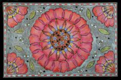 """""""Pink flowers and Bees"""" floorcloth"""