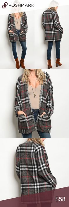 Grey Plaid Sweater Jacket with Pockets Preorder! Grey Plaid Sweater Jacket with Pockets 90% Poly 10% Spandex Size: S/M - M/L Price Is Firm  No Trades Glamvault Jackets & Coats