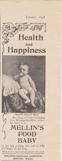 Free Vintage Clipart, Vintage Magazine Ads and Vintage Artwork Perfect for Home & Man-Cave Decor: Vintage 1898 Mellin's Baby Food Original Print Ad Health & Happiness Home Decor