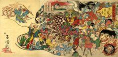 百鬼夜行絵巻 制作者は玉園(ぎょくえん)。浮世絵で描かれた百鬼夜行。孫悟空と日本の妖怪たちの対峙の様子が3枚の続き絵に描かれている。Chinese specter Son Goku versus the Japanese specter us