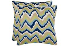Accent to the office sofa? Set of 2 Bali 18x18 Pillows, Blue/Lime