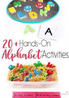 Hands-on alphabet activities that are great for introducing letters, reviewing, learning names, and learning about alphabetical order. There are card games, sensory bins, I Spy and so much more!!