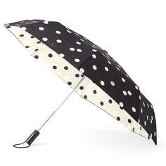 kate spade new york travel umbrella - black/cream deco dot