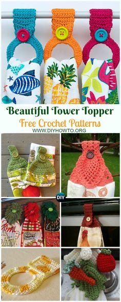 Collection of Beautiful Towel Topper Free Crochet Patterns: Crochet Towel Ring, Towel Hanger, Leaf Towel Topper, Pineapple Towel Topper, Towel Gift Crochet Crochet Towel Tops, Crochet Towel Holders, Crochet Dish Towels, Crochet Kitchen Towels, Crochet Dishcloths, Crochet Gifts, Diy Crochet, Irish Crochet, Crochet Ideas