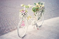 The girliest flowerest bike ever without being pink. I'd put this in a shop window for Spring with flouncy 50s dresses.