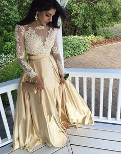 Simple Prom Dresses, 2018 long sleeves prom dress two piece long prom dress champagne long prom dress lace prom dress formal evening prom dress LBridal Gold Evening Dresses, Long Sleeve Evening Gowns, Gold Prom Dresses, Prom Dresses Long With Sleeves, Prom Dresses 2018, Cheap Prom Dresses, Dress Long, Dress Prom, Dress Formal