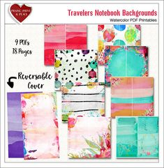 Lovely Travelers Notebook Cover & Pages to use in TN Bright and Dreamy Watercolors for Bible or Art Journaling