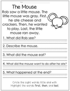 Reading Comprehension for Little Learners April Edition by TeachingInHighHeels First Grade Reading Comprehension, Reading Comprehension Worksheets, Reading Fluency, Reading Intervention, Reading Passages, Reading Activities, Reading Skills, Teaching Reading, Reading Response