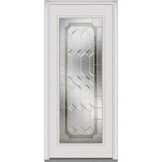 Milliken Millwork 34 in. x 80 in. Majestic Elegance Decorative Glass Full Lite Primed White Steel Replacement Prehung Front Door-Z001513R - The Home Depot