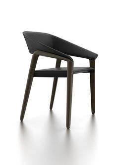 Memory Chair by Potocco (wooden legs, upholstered back rest & seat)