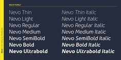 Nevo font typography sans serif