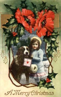 Vintage Christmas card with St. Bernard dog, little girl and poppies
