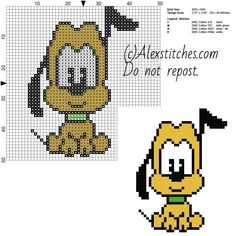Pluto Disney Cuties free cross stitch pattern 50x50 4 colors