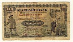 March 1920 Standard Bank Salisbury Branch Rhodesian Issue 10 Shilling - RARE