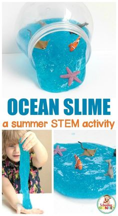 Love slime? You'll love this under the sea slime recipe to make ocean slime with borax. This sparkling ocean slime recipe is perfect for summer fun and the blue ocean slime looks just like clear ocean water! #slime #slimerecipes #kidsactivities #stemactivities